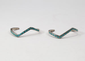 Native American Sterling Silver with Turquoise Jewelry Set (2 Cuffs, 1 Ring)