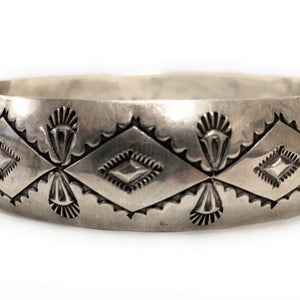 Vintage Navajo Sterling Silver Bangle Bracelet - Signed