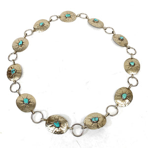 Vintage 1960's Navajo Sterling Silver Dry Creek Turquoise Cabochon Concho Belt
