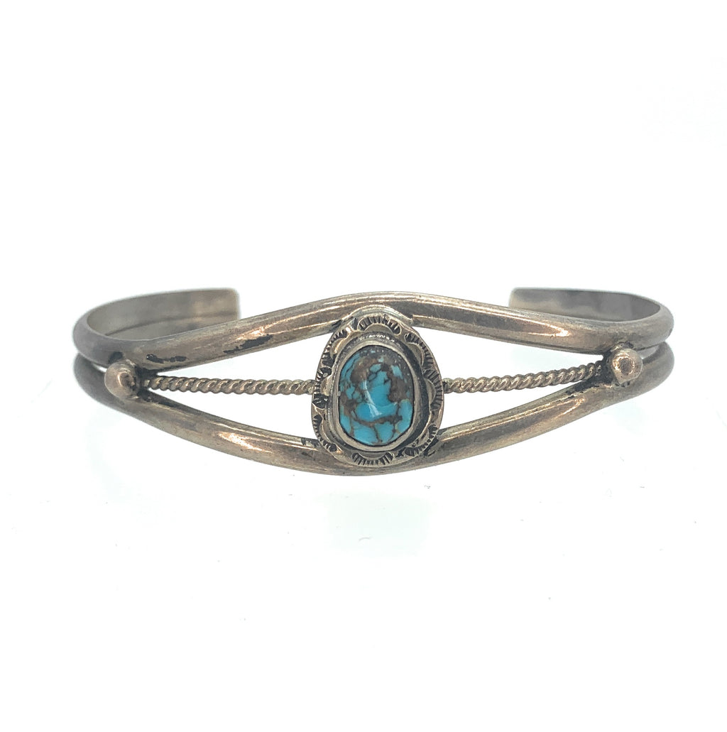 Vintage 1970's Navajo Sterling Silver & Turquoise Tri Shank Cuff Bracelet