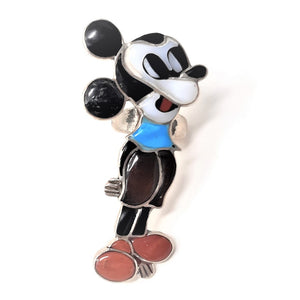 Mickey Mouse Zuni Sterling Silver Multi-Stone Inlay Ring sz 4""