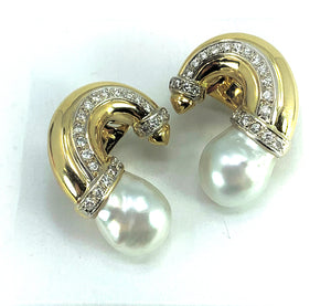STUNNING White Pearl & Diamond 18K Gold Earrings