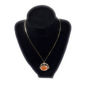 "Victorian Amber Agate 10k and 14k Gold 24"" Necklace"