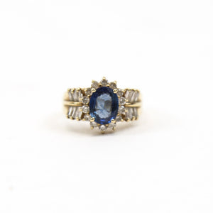 14K Yellow Gold Ring with Blue Sapphire, Round and Baguette Cut Diamonds Star Motif
