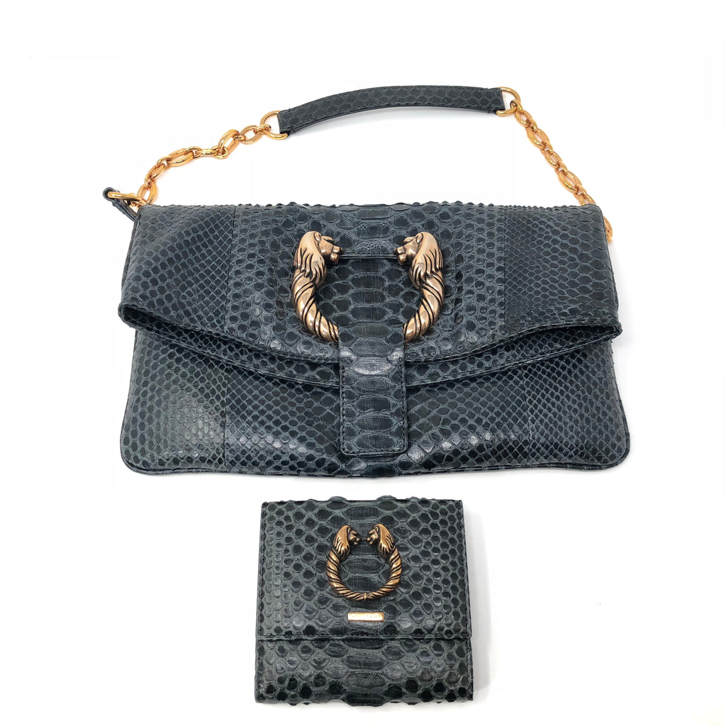 Bvlgari Green Python Shoulder Bag and Matching Wallet