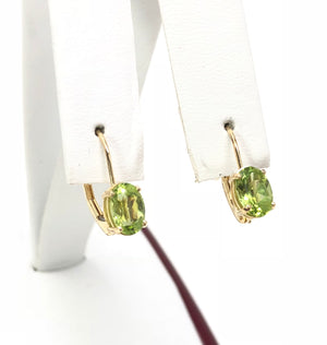 Estate Peridot Oval 14K Yellow Gold Earrings