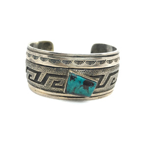 Native American Navajo Old Pawn Turquoise Sterling Silver Signed R S Cuff Bracelet, Sz 6.5