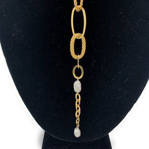 FOPE 18K Yellow Gold & 0.75ctw Diamond Lariat Lg. Link Necklace
