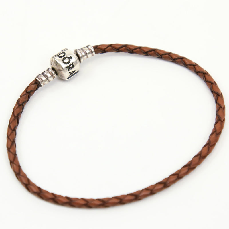 Pandora Bracelet Sterling Silver, with Bronze Braided Rope Chain