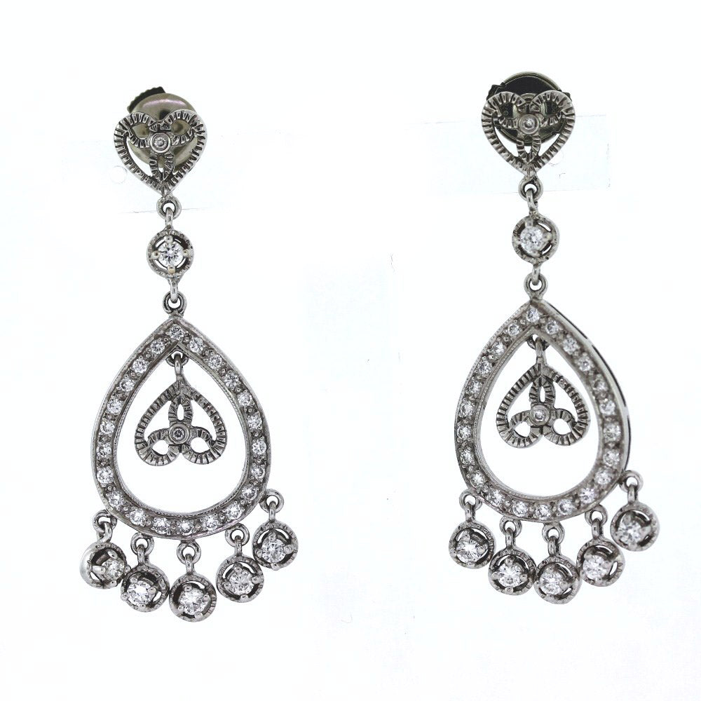 18K White Gold 1.80ctw Diamond Chandelier Post Earrings