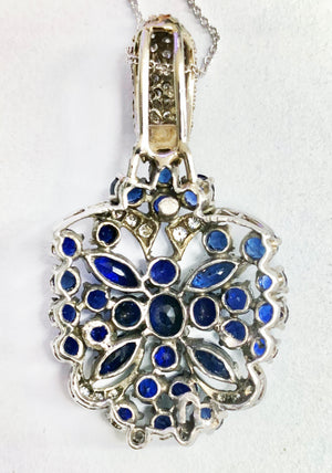Gorgeous Italian 14K White Gold Necklace with Butterfly Inspired Sapphire and Diamond Pendant
