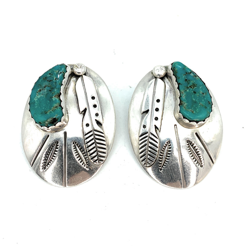 Vintage 1970's Old Pawn Sterling Silver Overlay & Kingman Turquoise Earrings
