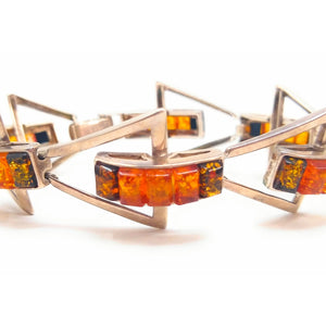 Sterling Silver Multi-Color Rectangular Cut Amber Bracelet