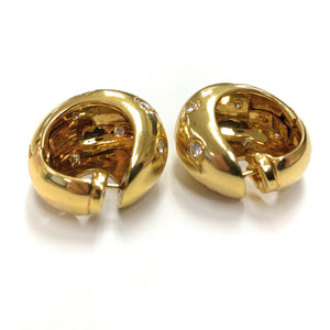 Vintage Cartier 18K Yellow Gold 1.72ctw Diamond Wide Domed Earrings