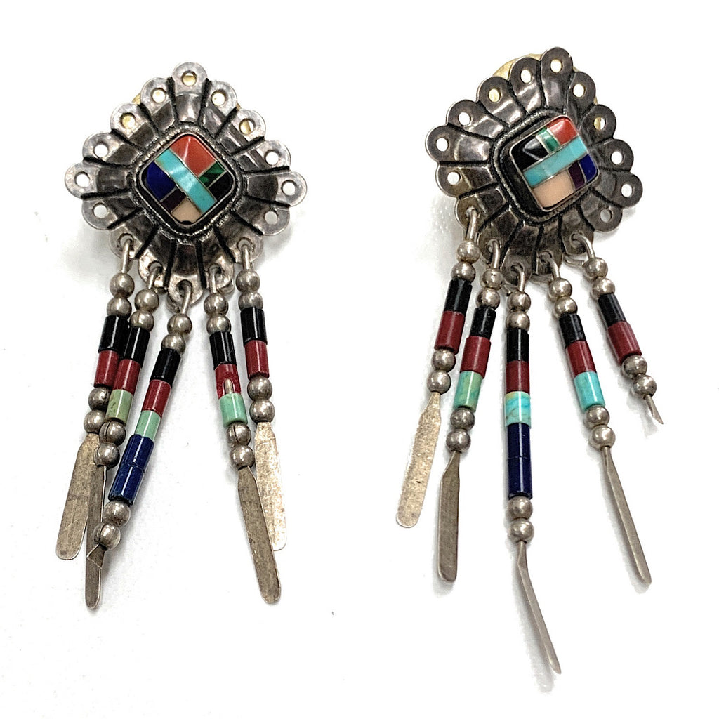 Vintage Navajo Sterling Silver Multi Stone Mosaic Inlay Dangle Earrings