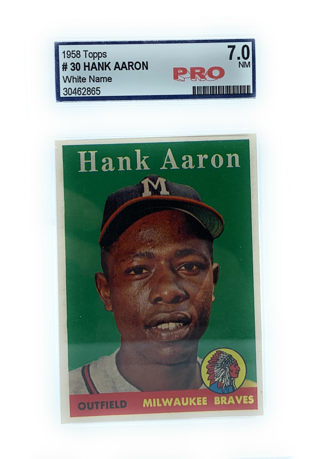 1958 Topps #30 Hank Aaron Card Graded PSA 7 - Near Mint