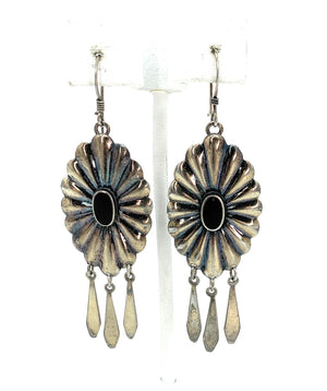 Vintage Old Pawn Sterling Silver & Onyx Oval Scalloped Concho Dangle Earrings