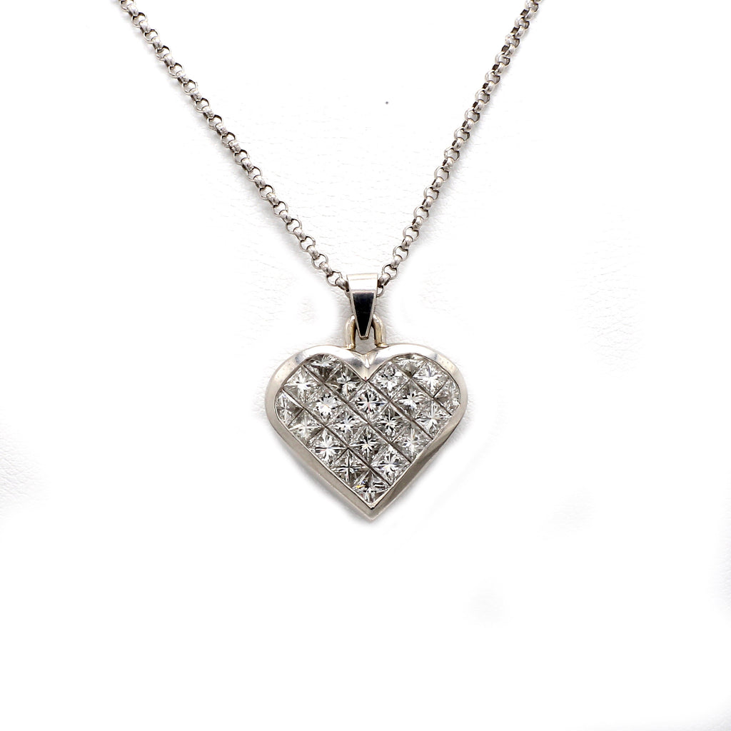Platinum & 3.25ctw Diamond Heart Pendant Necklace