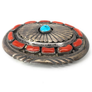 1960's Vintage Navajo Sterling Silver Turquoise & Red Coral Belt Buckle