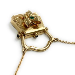Lumiere 18K Gold Purse Locket Pendant Necklace w Emerald & Sapphires