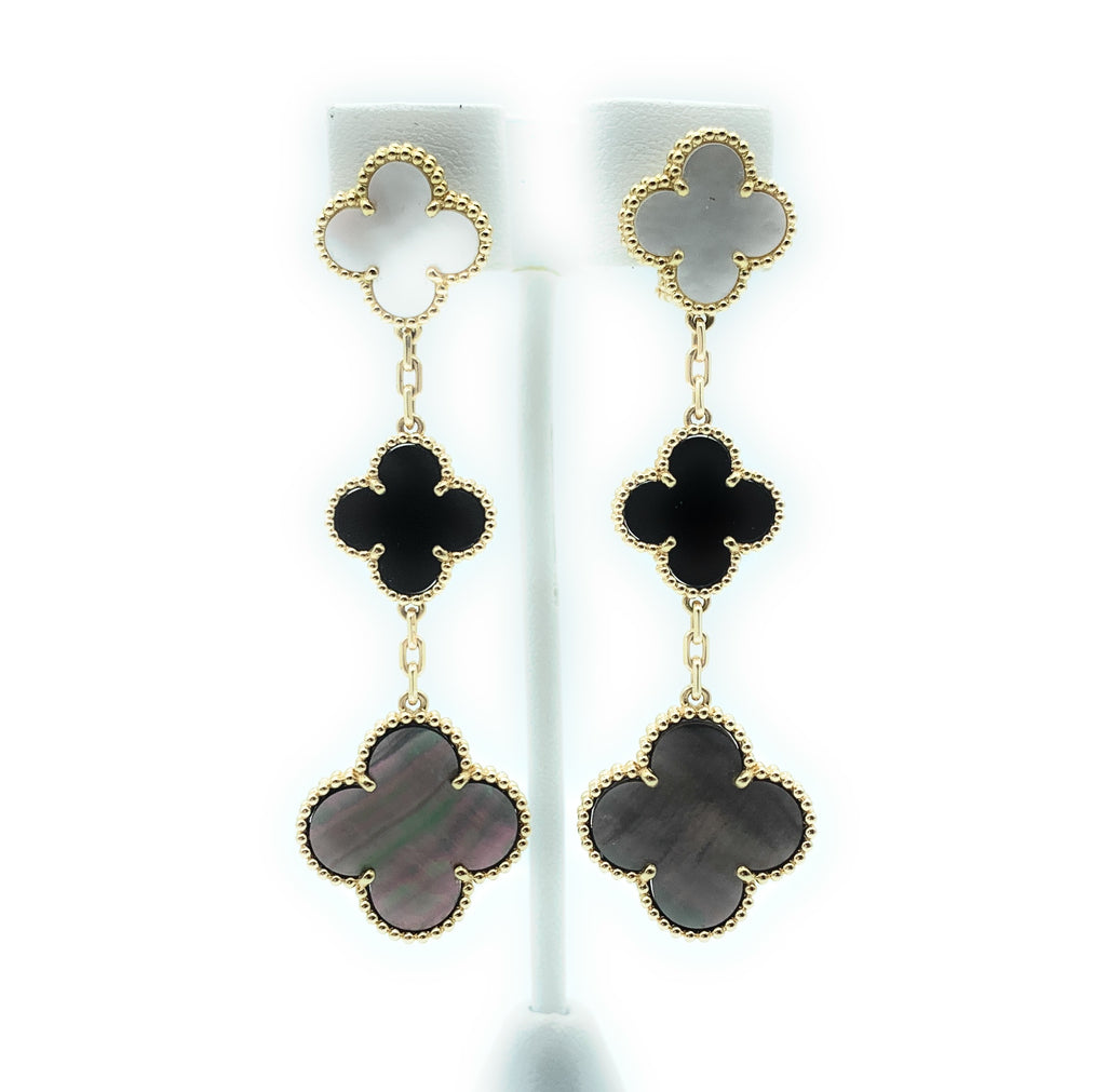 Van Cleef & Arpels 18k Gold Magic Alhambra Mother of Pearl Onyx Dangle Earrings