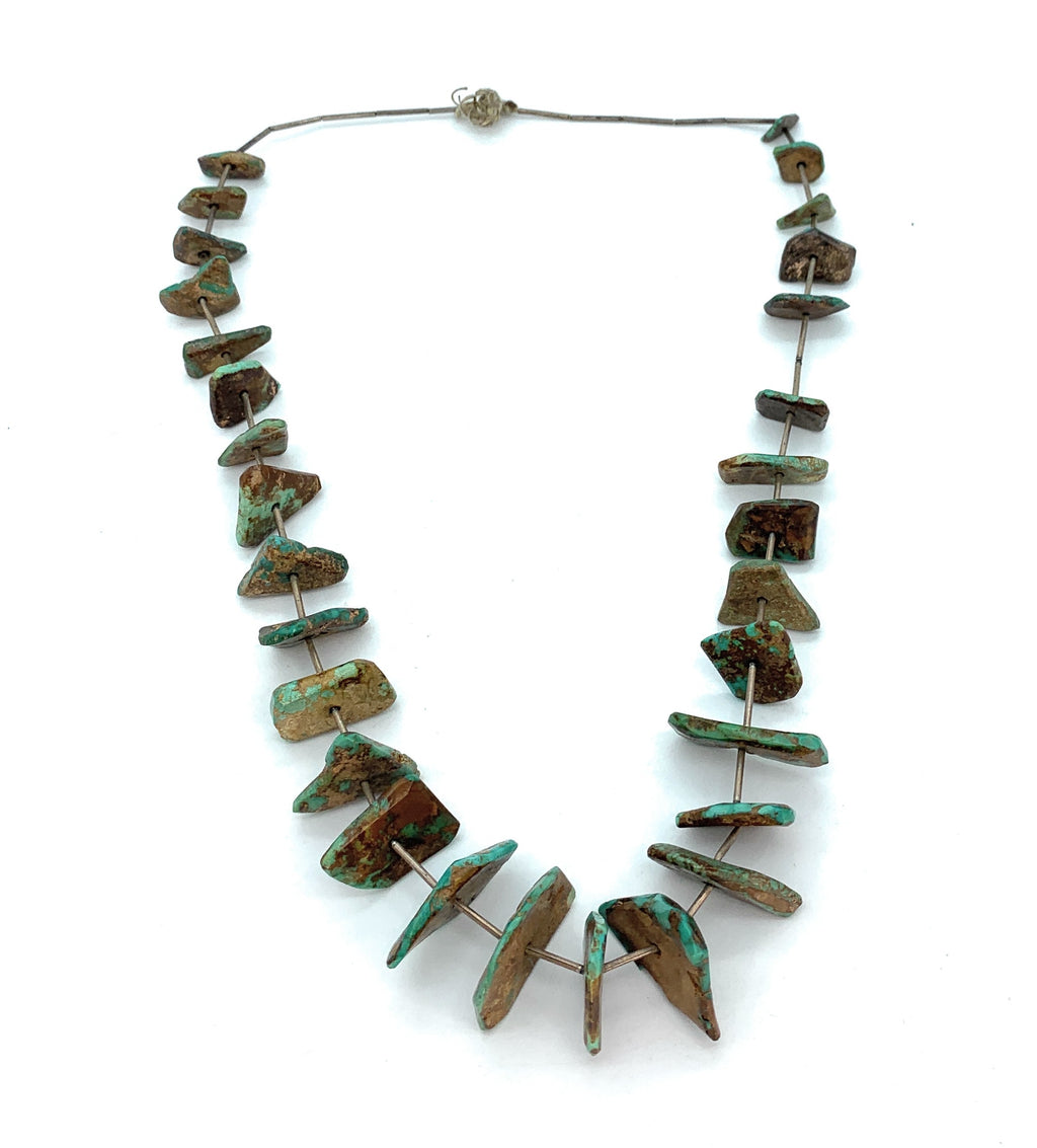 Vintage 1960's Sterling Silver Royston Turquoise Nugget Bead Necklace