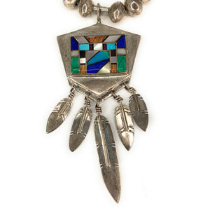 Vintage Zuni Sterling Silver Multi Stone Inlay Bench Bead Pendant Necklace