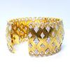 18K Yellow Gold 13.76ctw Diamond Wide Hinged Bangle Bracelet