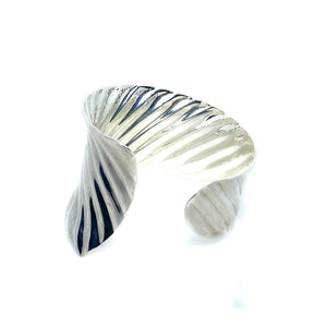 RIM Studio Sterling Silver Rippled Wide Band Cuff Bracelet Size 6