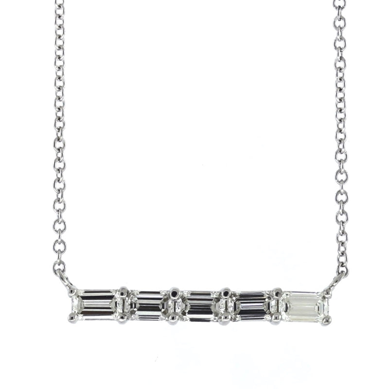 14K White Gold & 0.60ctw Emerald Cut Diamond Bar Necklace