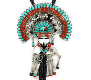 GORGEOUS Sterling Silver Multi-Stone Inlay Zuni Sunface God Bolo Tie