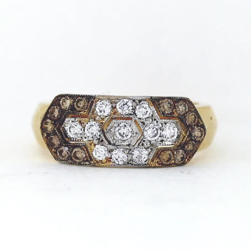 18K Yellow Gold Ring w/ Chocolate & White Diamonds - 0.85ctw - Sz. 7.75