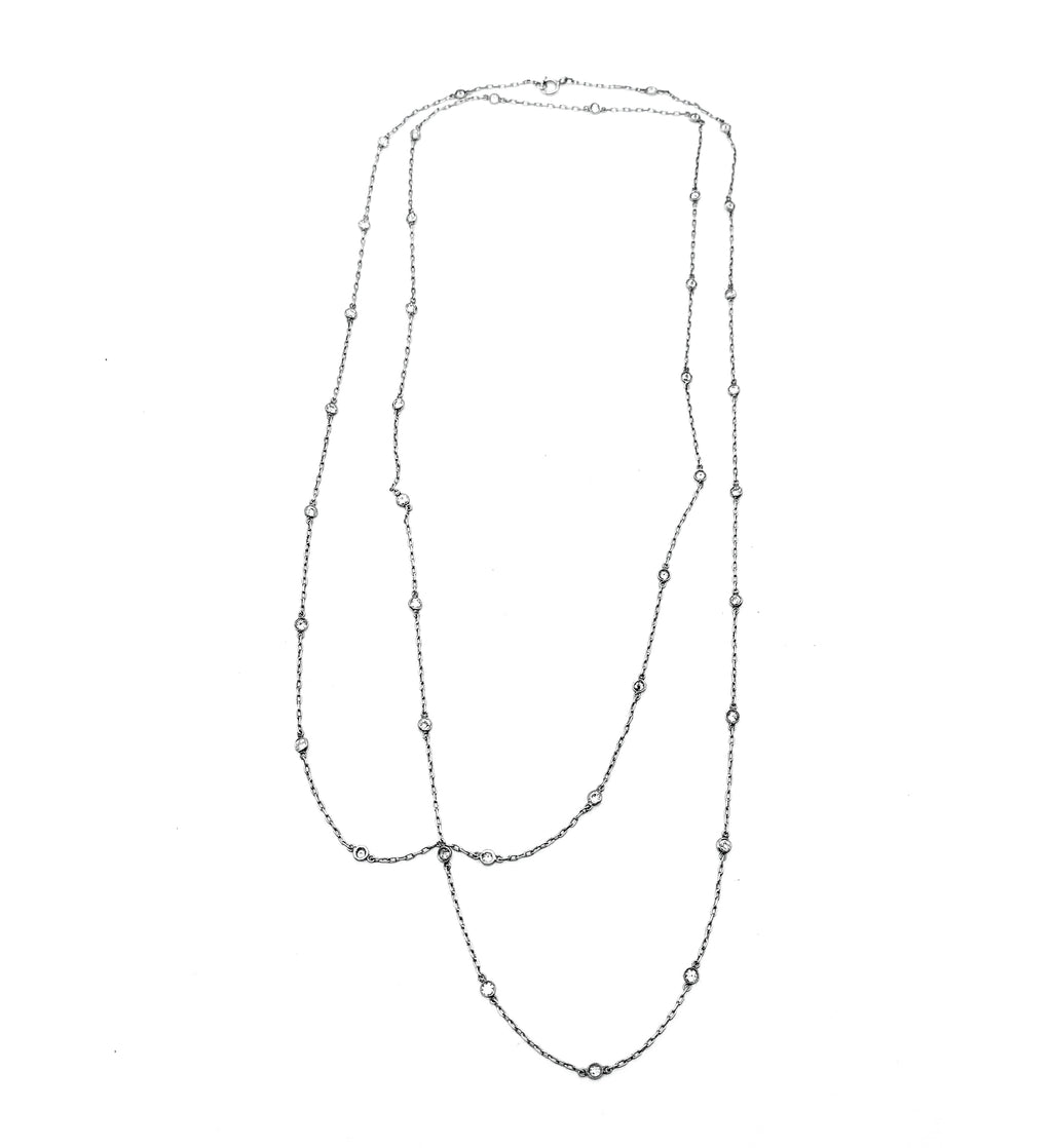 Platinum DBY Hand-Made 6.70ctw Diamond Station Necklace