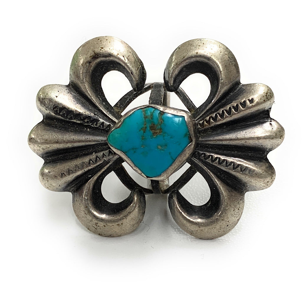 Vintage 1960's Zuni Sterling Silver & Royston Turquoise Sandcast Ring