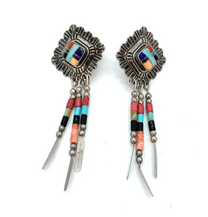 Old Pawn Zuni Sterling Silver & Multi-Stone Inlay Dangle Earrings
