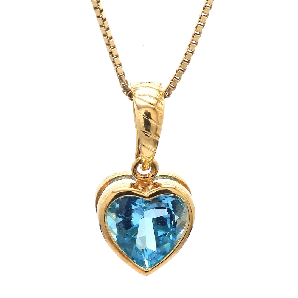 14K Yellow Gold & Blue Topaz Heart Pendant and Necklace