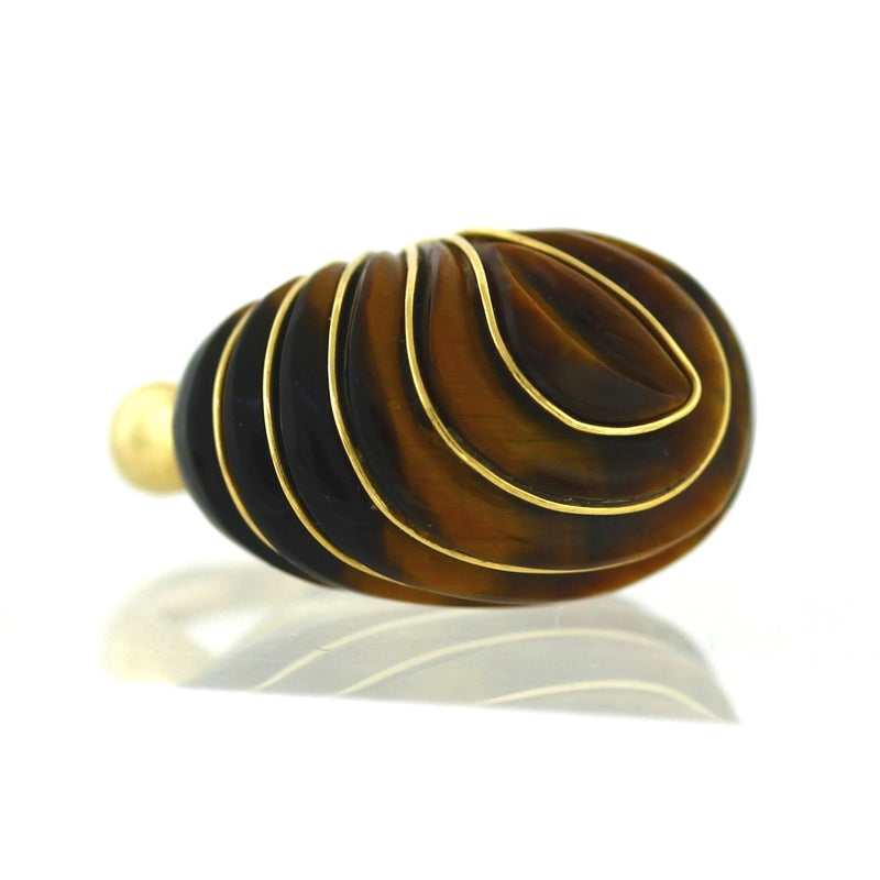 Vintage 14K Yellow Gold & Tiger Eye Ribbed Domed Fashion Ring - Sz. 4.75