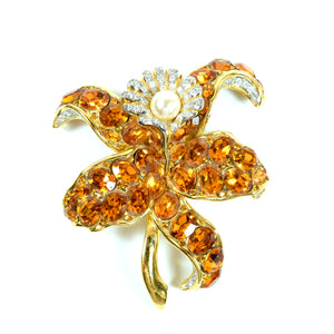 Large Costume Gold Amber Crystal Rhinestone Faux Pearl Lily Flower Brooch Pin