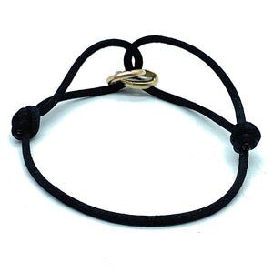 Cartier 18k Gold Trinity Tri Color Ring Bracelet On Black Silk Cord