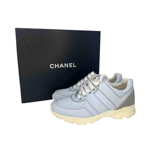 Chanel CC Low-Top Sneakers Sky Blue Sz 37