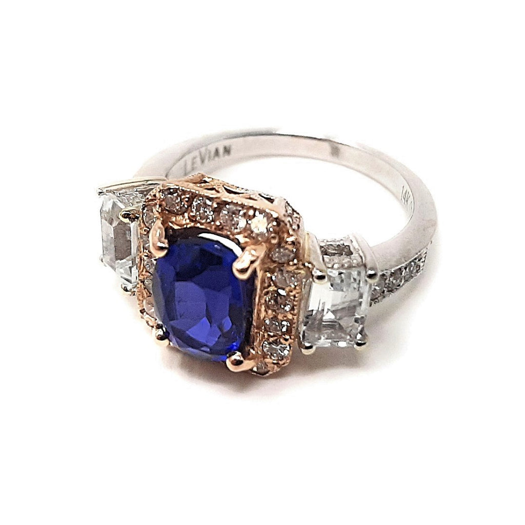 Estate Designer Le Vian 14K Rose and White Gold Tanzanite & Cubic Zirconia Fashion Ring sz 7""