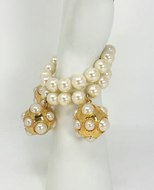 Escada Vintage Champagne Faux Pearls and Gold Tone Dangle Bracelet