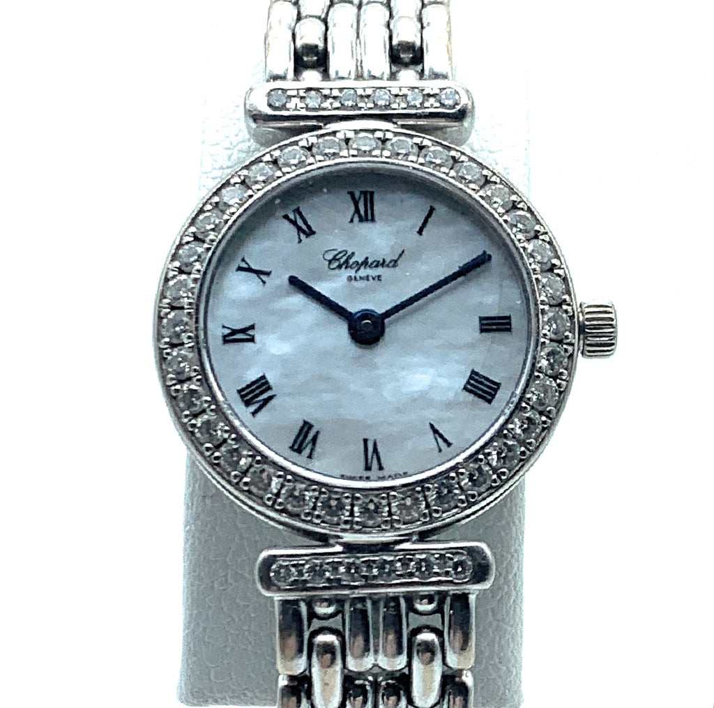 Chopard Classique 18K White Gold & Diamond Bezel Ladies Watch