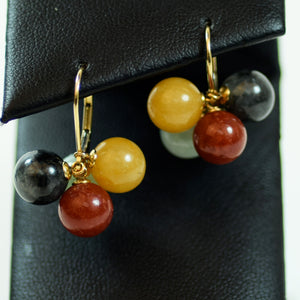 14 Karat Yellow Gold and Red Green Orange Purple Multicolor Jade Hoop Dangle Earrings