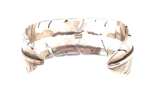 Navajo Sterling Silver Feather Cuff Bracelet.