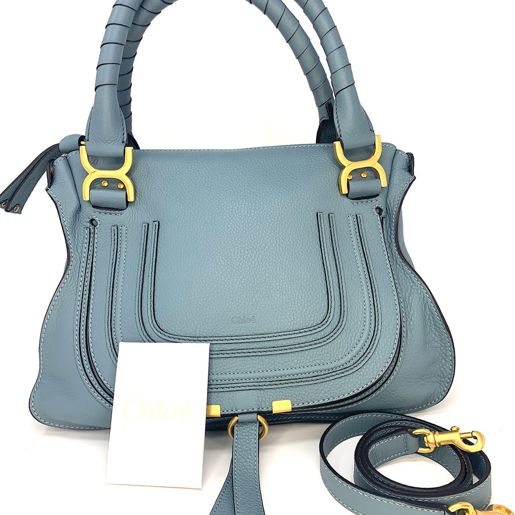 Chloe Cloudy Blue Medium Marcie Leather Satchel