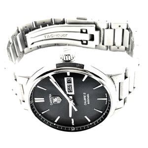 Tag Heuer Carrera Calibre 5 Day-Date Automatic Black Dial SS Men's Watch
