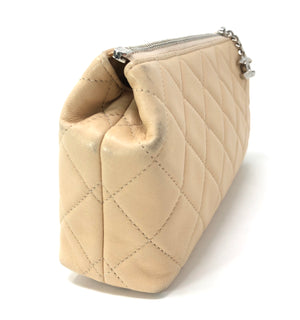 Chanel Beige Lambskin Quilted Cosmetic Make-up Pouch