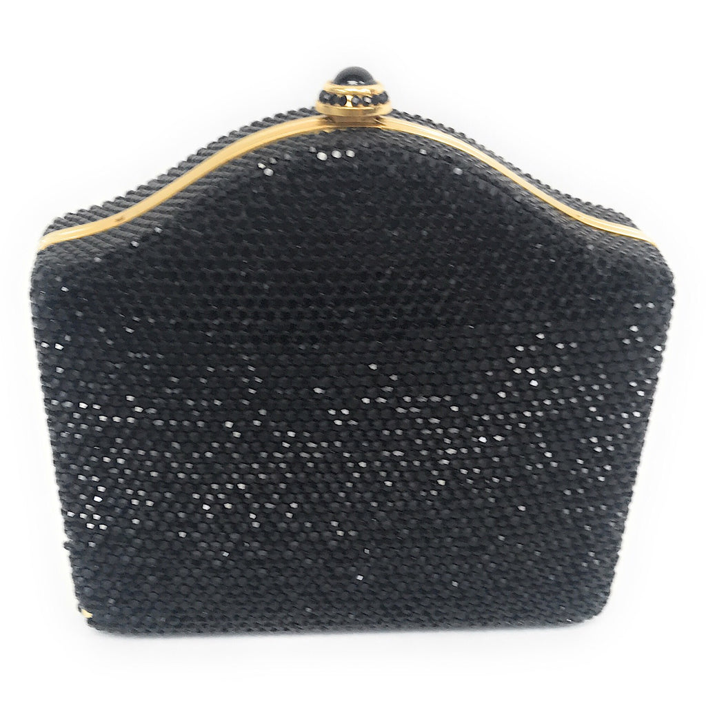 Judith Leiber Black Swarovski Crystal Minaudiere Snap Evening Bag Clutch