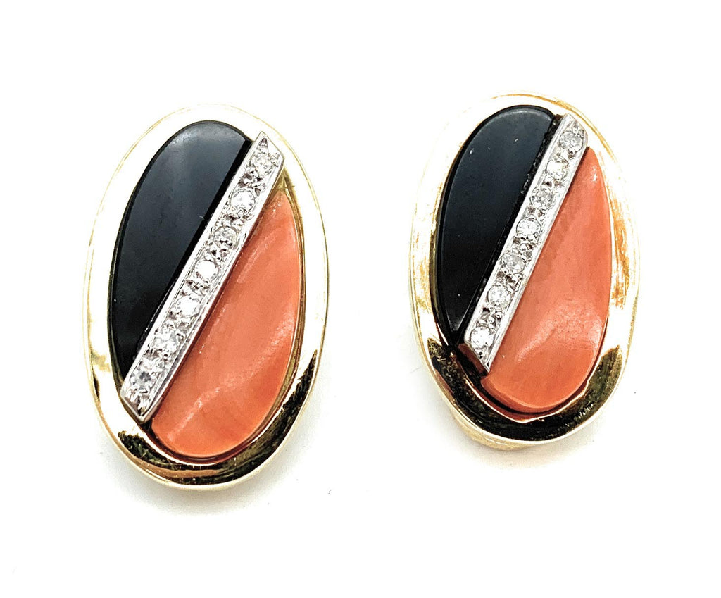 Amsterdam Sauer 18K Two Tone Gold, 0.36ctw Diamond, Onyx, & Coral Earrings